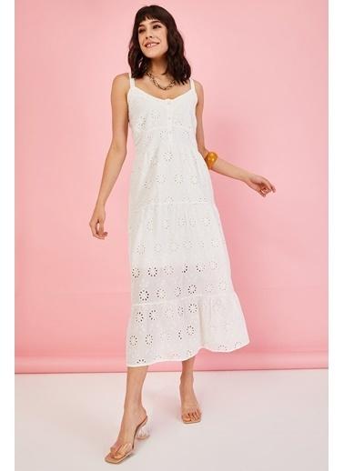 ESQ Askılı Fisto Uzun Elbise Beyaz